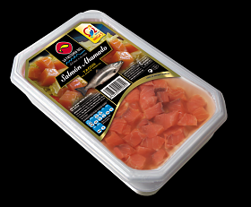 La Factoria del Mar Smoked Salmon Cubes in oil 250 gr
